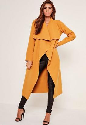 Oversized Waterfall Duster Coat Mustard $77 thestylecure.com