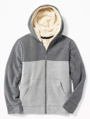 Old Navy Color-Blocked Sherpa-Lined Zip Hoodie for Boys