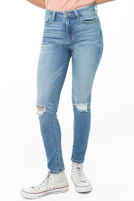 Forever 21 Distressed Straight-Leg Jeans