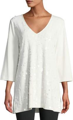 be756d09c17c8 ... Joan Vass V-Neck 3 4-Sleeve Sequined-Front Cotton Interlock Tunic