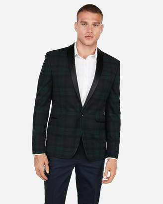 Express Slim Black Plaid Shawl Collar Stretch Tuxedo Jacket