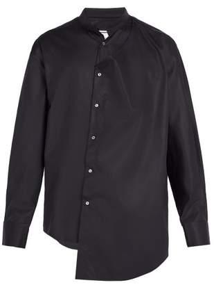 Wooyoungmi Asymmetric Cotton Blend Shirt - Mens - Navy