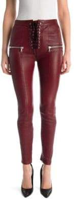 Taverniti So Ben Unravel Project Lace-Up Skinny Plonge Leather Pants