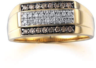 FINE JEWELRY Mens 3/8 CT. T.W. Champagne and White Diamond 10K Yellow Gold Ring