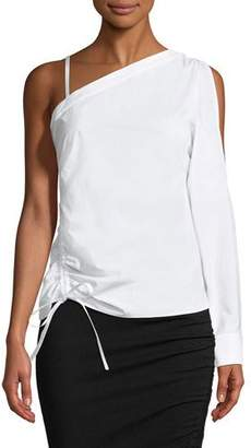 Alexander Wang One-Sleeve Asymmetric Ruched Top