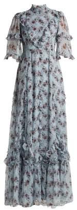Erdem Isidor Keiko Print Silk Gown - Womens - Blue Print