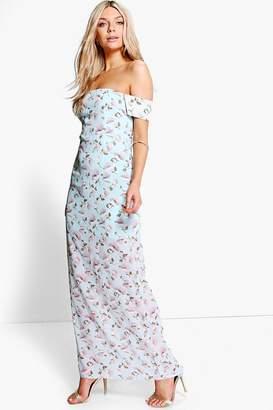 boohoo Becca Floral Print Off Shoulder Maxi Dress $52 thestylecure.com