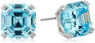 Nicole Miller 10 mm Signature Asscher Prong Rhodium/Sky Blue Stud Earrings