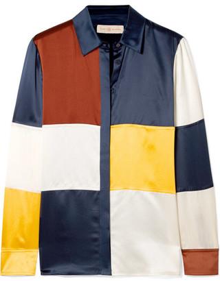 Tory Burch Reese Color-block Silk-satin Shirt - Navy