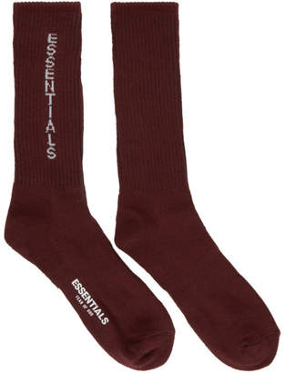 Essentials Burgundy Crew Socks