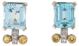 14K Vintage Aquamarine & Diamond Earrings