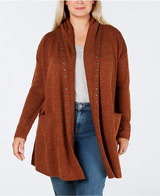 Style&Co. Style & Co Plus Size Studded Open Cardigan