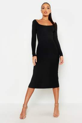 boohoo Scoop Front & Black Knitted Midi Dress