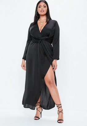 Missguided Plus Size Black Satin Thigh Split Wrap Maxi Dress, Black