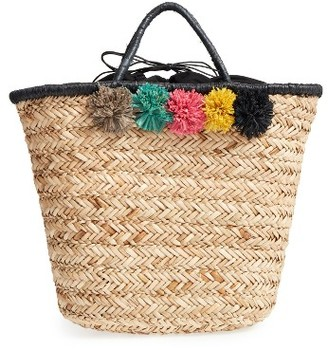 San Diego Hat Pompom Woven Tote - Beige $48 thestylecure.com