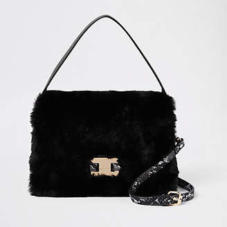 River Island Black faux fur flap over cross body bag