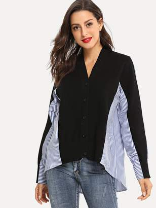Shein Cut And Sew Striped Outerwear