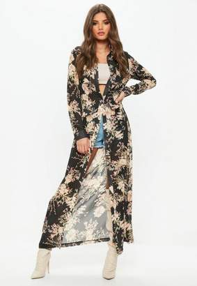 Missguided Black Floral Print Long Sleeve Maxi Shirt Dress