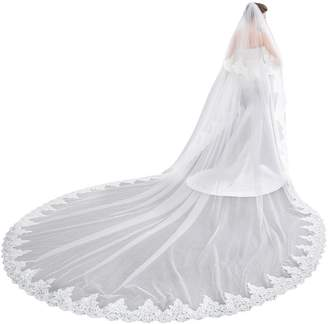 EllieHouse Women's 2 Tier Cathedral Lace White Wedding Bridal Veil With Comb HL08WT