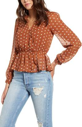 J.o.a. Polka Dot V-Neck Peplum Top