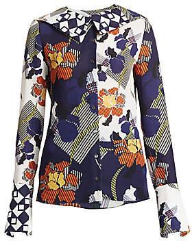 Roland Mouret Women's Deimos Silk Floral Blouse