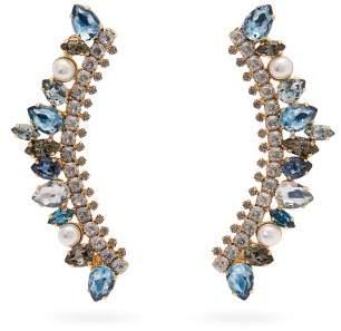 Erdem Arch Crystal Embellished Earrings - Womens - Blue