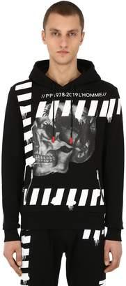 Philipp Plein Skull Print Cotton Jersey Hoodie