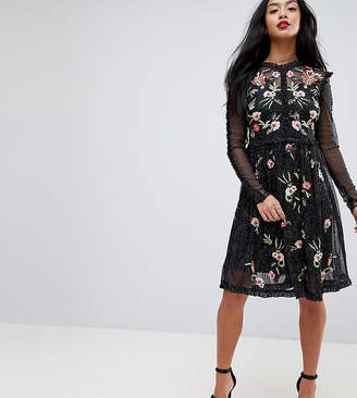 Frock and Frill Petite Frock And Frill Petite Floral Premium Embroidered Metallic Tulle Skater Dress