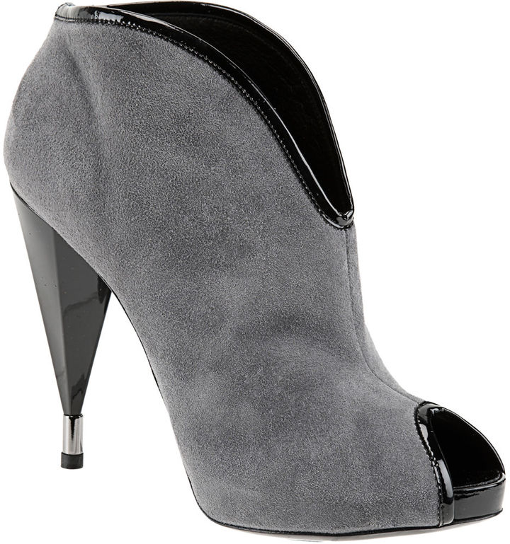 Marc by Marc Jacobs Peep Toe Ankle Bootie - Grey/Black