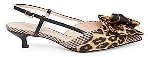 Kate Spade Women's Daxton Leopard & Houndstooth Kitten Heel Slingback Sandals