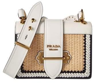 Cahier Straw & Leather Shoulder Bag.