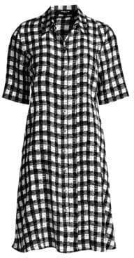 Derek Lam Women's Plaid Silk Shirtdress - White Black - Size 36 (0)