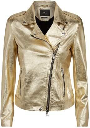 SET Metallic Leather Biker Jacket