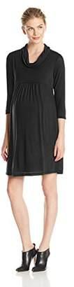 Three Seasons Maternity Women's Maternity 3/4 Sleeve Cowlneck Solid Dress