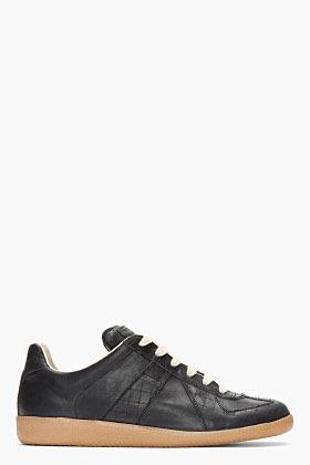 Maison Martin Margiela Matte black leather replica sneakers
