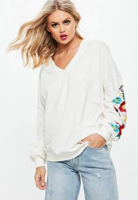 Missguided White Floral Embroidered Sleeve V Neck Sweatshirt
