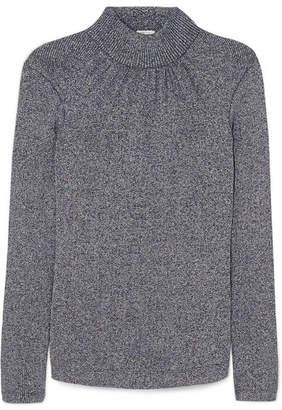 Golden Goose Gardena Gathered Lurex Turtleneck Sweater - Navy