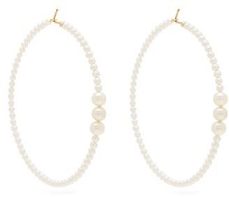 Mizuki Pearl Embellished Hoop Earrings - Womens - Pearl