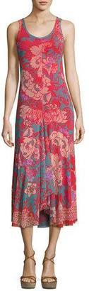 Fuzzi Floral-Print Tulle Midi Tank Dress, Pink Pattern $595 thestylecure.com