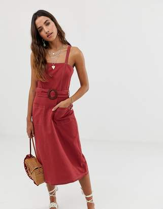 Asos DESIGN square neck linen midi sundress with wooden buckle & contrast stitch