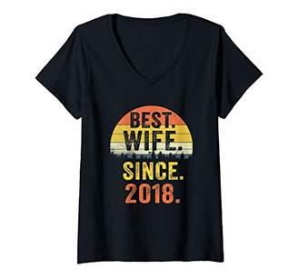 Womens 1st Wedding Anniversary Gift Women Wife Since 2018 V-Neck T-Shirt