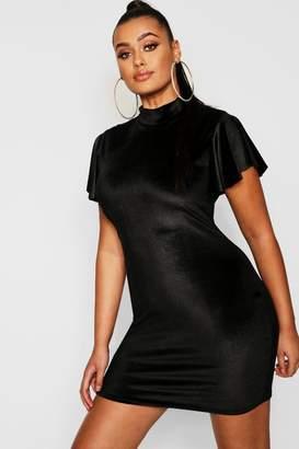 2bbbcbdbda726 boohoo Plus Velvet High Neck Cap Sleeve Bodycon Dress