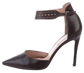 Pura Lopez Leather Pointed-Toe Pumps