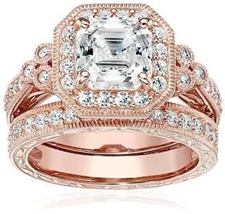 Swarovski Platinum-Plated Sterling Silver Princess Created Vintage Bridal Zirconia Ring