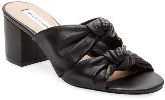 Saks Fifth Avenue Women's Knot Leather Mid Heel Sandal