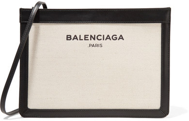 Balenciaga - Leather-trimmed Canvas Shoulder Bag - Cream