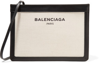 Balenciaga - Leather-trimmed Canvas Shoulder Bag - Cream $850 thestylecure.com