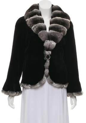 Carmen Marc Valvo Sheared Mink & Chinchilla Trim Jacket