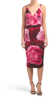 Made In Usa Floral Print Strappy Midi Dress
