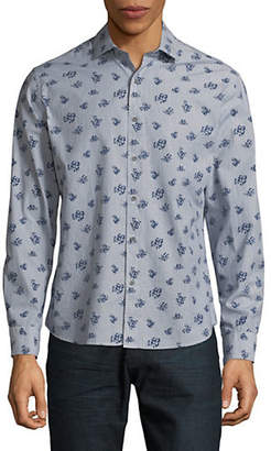 Black Brown 1826 Floral Long-Sleeve Sport Shirt